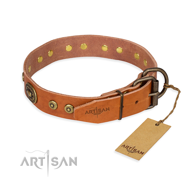 Full grain leather dog collar made of flexible material with durable studs
