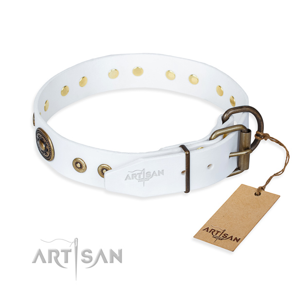 Natural genuine leather dog collar made of gentle to touch material with corrosion proof studs