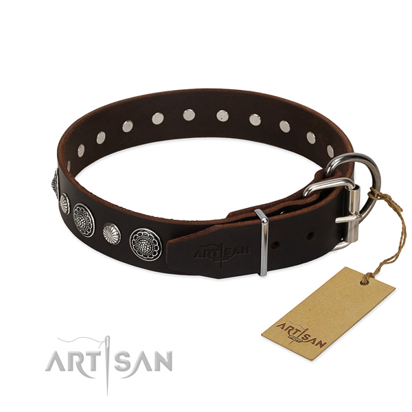 Reliable natural leather dog collar with top notch adornments