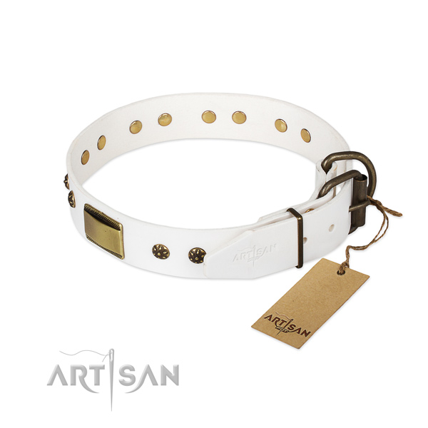 Leather dog collar with corrosion proof traditional buckle and decorations