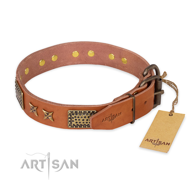 Rust-proof D-ring on full grain natural leather collar for your lovely canine
