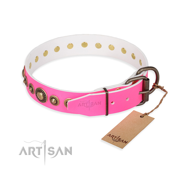 Best quality full grain leather dog collar handcrafted for stylish walking