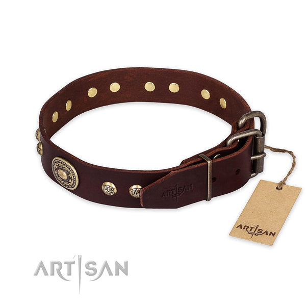 Durable hardware on full grain natural leather collar for basic training your doggie