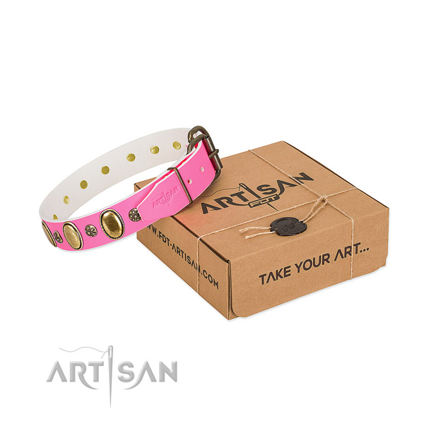 Comfortable wearing soft to touch full grain genuine leather dog collar with embellishments