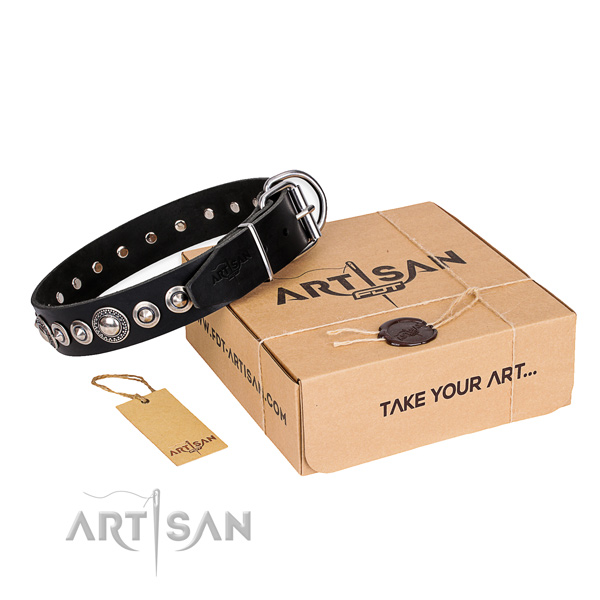 Finest quality natural leather dog collar