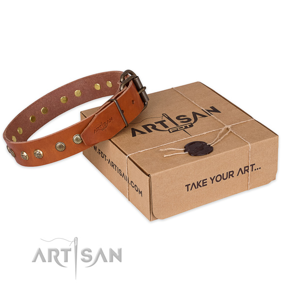 Durable fittings on natural genuine leather collar for your handsome dog