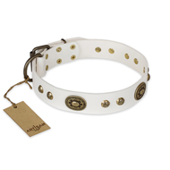 """Adorable Dream"" FDT Artisan White Leather Mastiff Collar"