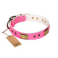 """Pink Daydream"" FDT Artisan Pink Leather Mastiff Collar with Old Bronze Look Plates and Studs"