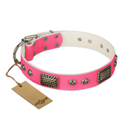 """Fashion Skulls"" FDT Artisan Pink Leather Mastiff Collar with Old Silver Look Plates and Skulls"