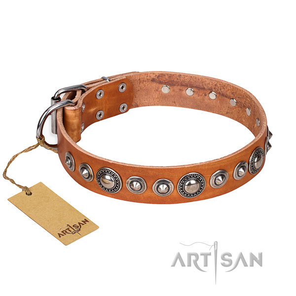 Genuine leather dog collar made of quality material with corrosion proof hardware