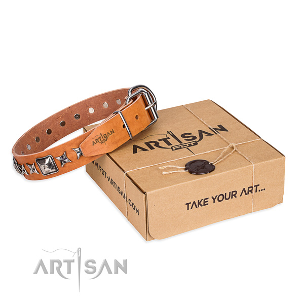 Handy use genuine leather dog collar with embellishments