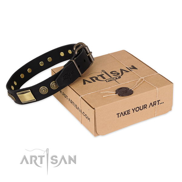Rust-proof hardware on full grain genuine leather dog collar for easy wearing
