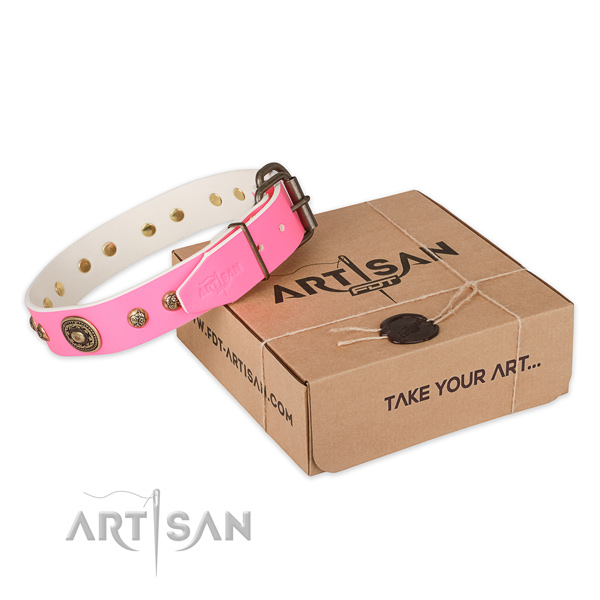 Reliable fittings on natural genuine leather dog collar for comfortable wearing
