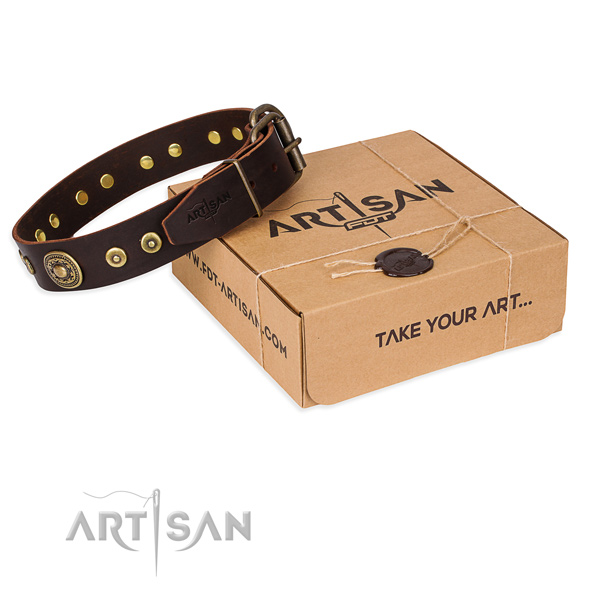 Full grain natural leather dog collar made of top rate material with rust-proof hardware