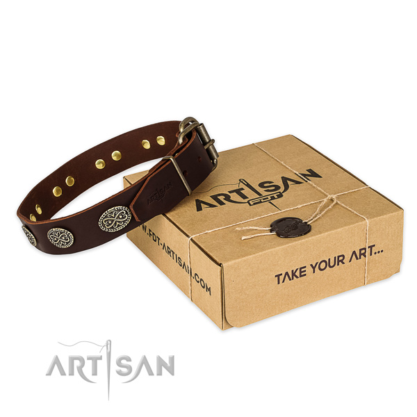 Rust-proof hardware on natural genuine leather collar for your impressive doggie