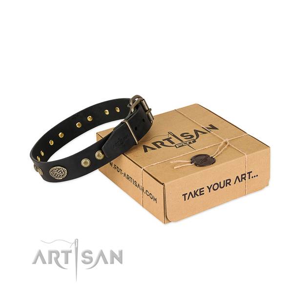 Strong fittings on full grain natural leather dog collar for your canine