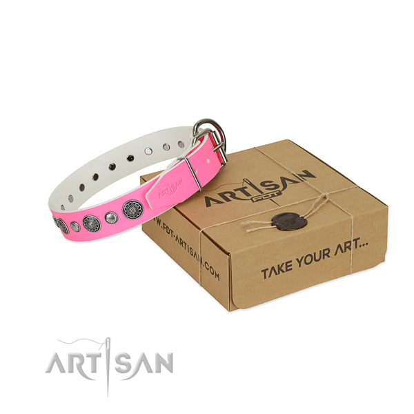 Full grain natural leather collar with rust-proof traditional buckle for your lovely doggie