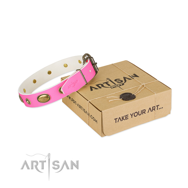 Easy adjustable natural leather collar for your beautiful four-legged friend