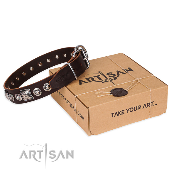Full grain leather dog collar made of best quality material with durable hardware