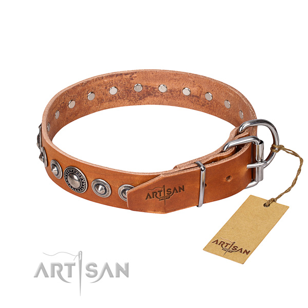 Genuine leather dog collar made of gentle to touch material with durable embellishments