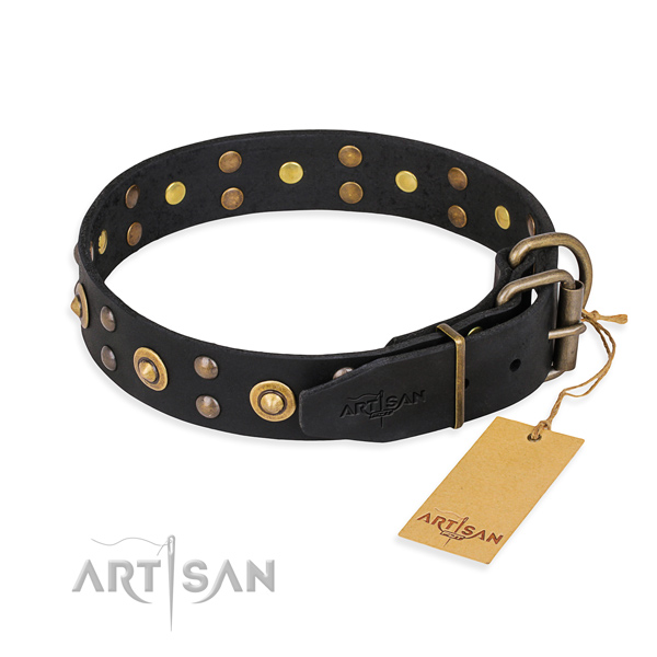 Rust resistant D-ring on leather collar for your stylish doggie