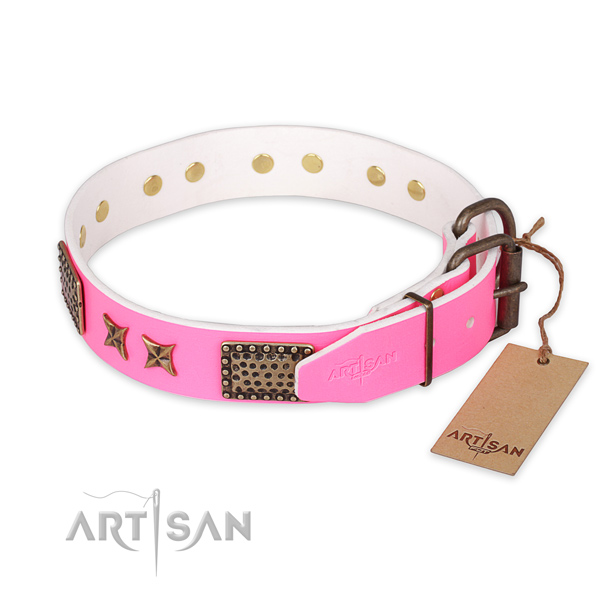 Corrosion resistant buckle on full grain natural leather collar for your lovely doggie