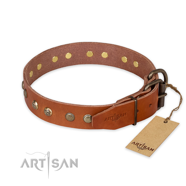 Corrosion resistant buckle on full grain natural leather collar for your stylish dog