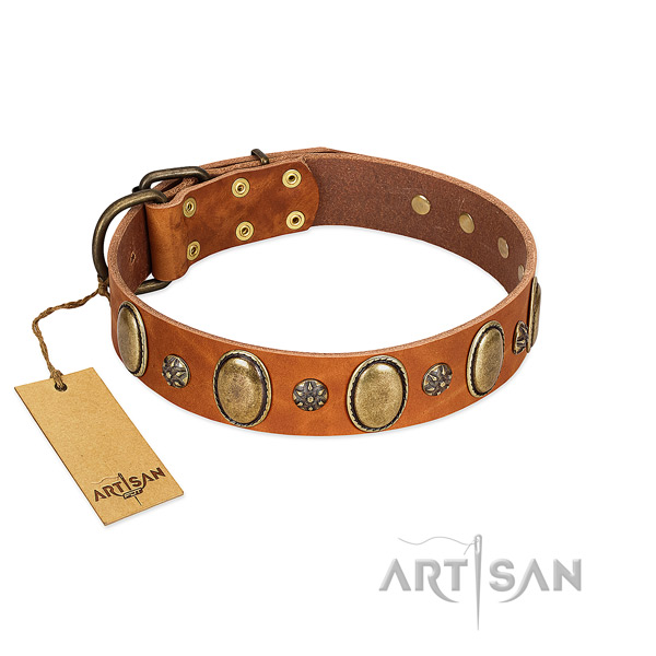 Comfy wearing flexible full grain genuine leather dog collar with studs