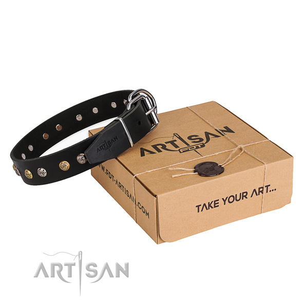 Best quality natural genuine leather dog collar handmade for stylish walking