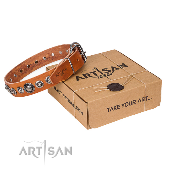Leather dog collar made of soft to touch material with rust-proof D-ring