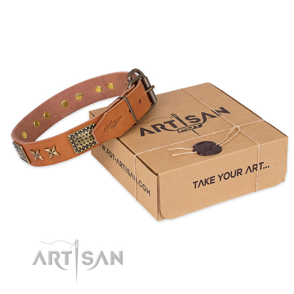 Strong hardware on natural genuine leather collar for your beautiful pet