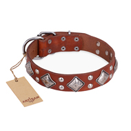 """Magic Squares"" FDT Artisan Tan Leather Mastiff Collar with Silver-like Decor"