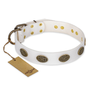 """Lovely Lace"" FDT Artisan White Leather Mastiff Collar with Old Bronze Look Ovals"