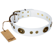 """Magnetic Appeal"" FDT Artisan White Leather Mastiff Collar with Old Bronze Look Decorations"