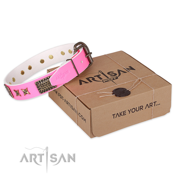 Rust resistant buckle on genuine leather collar for your handsome canine