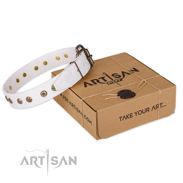 Reliable hardware on full grain natural leather collar for your attractive pet