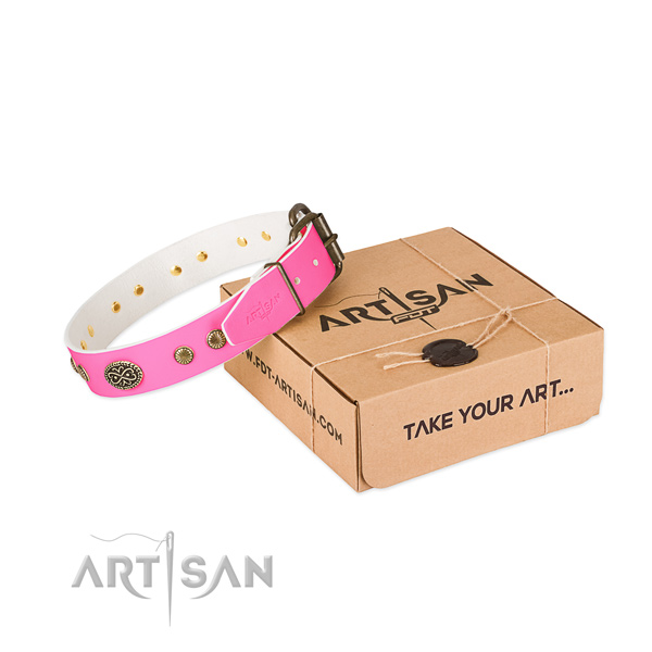 Durable decorations on full grain genuine leather dog collar for your four-legged friend