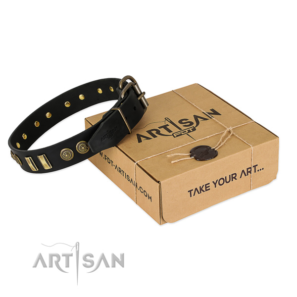 Rust resistant buckle on full grain genuine leather dog collar for your pet
