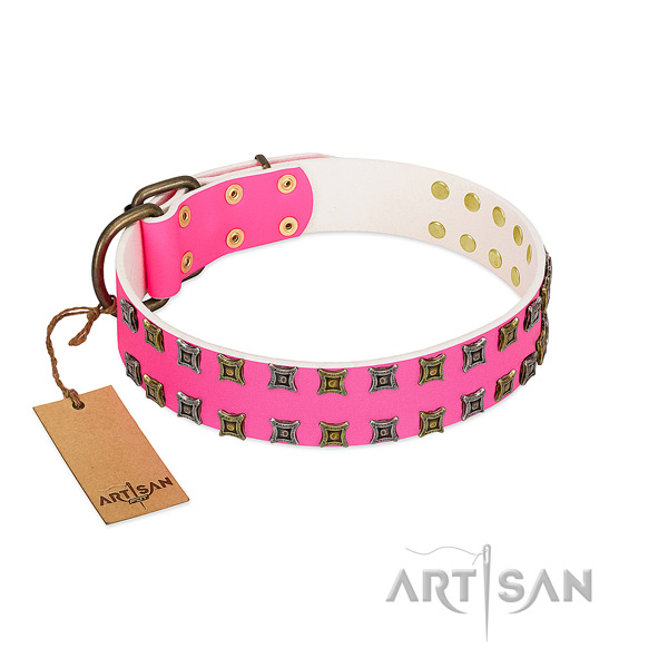 Genuine leather collar with amazing adornments for your dog
