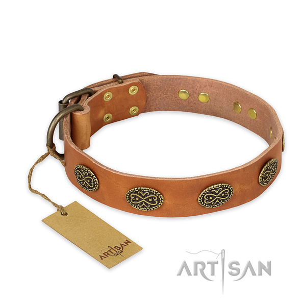Convenient full grain natural leather dog collar with corrosion proof hardware