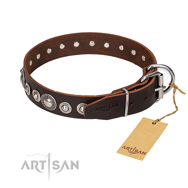 Genuine leather dog collar made of gentle to touch material with corrosion resistant traditional buckle