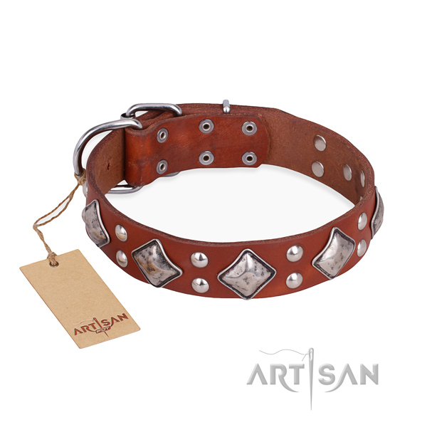 Handy use exquisite dog collar with durable buckle