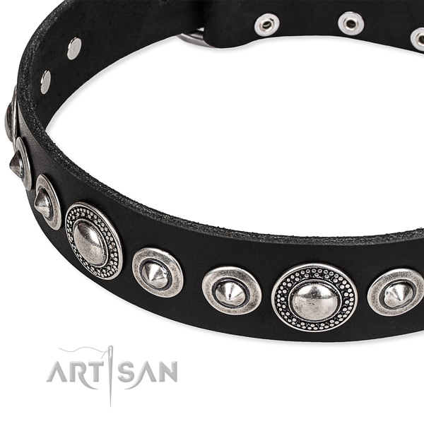 Easy wearing decorated dog collar of strong full grain leather