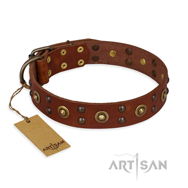 Inimitable genuine leather dog collar with durable buckle