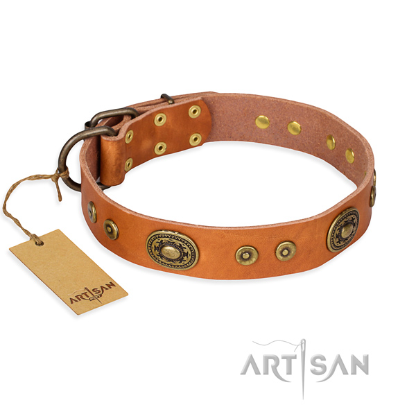 Genuine leather dog collar made of best quality material with reliable fittings