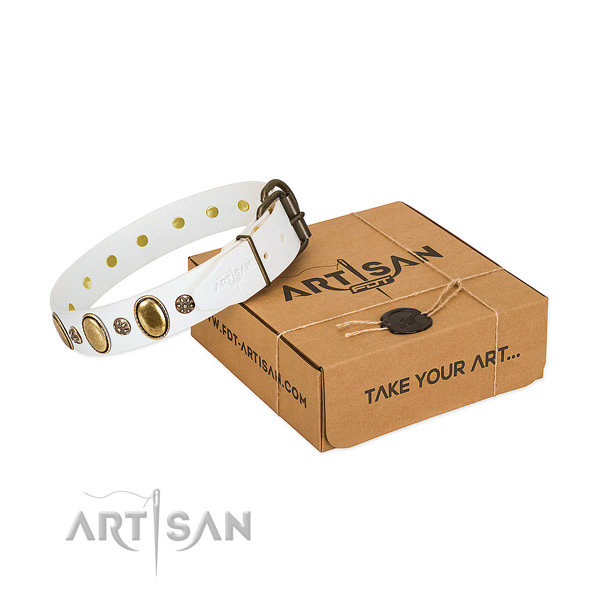 Comfy wearing quality genuine leather dog collar with adornments