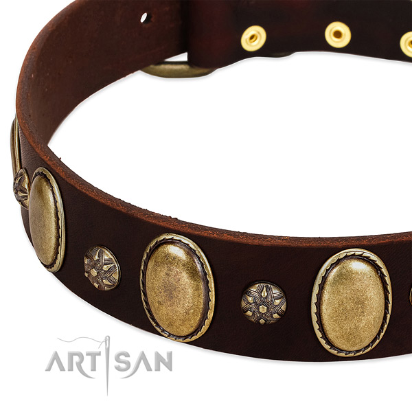Daily use soft natural genuine leather dog collar