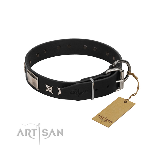 Soft genuine leather dog collar with rust-proof hardware