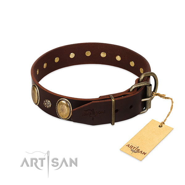 Easy wearing quality full grain genuine leather dog collar