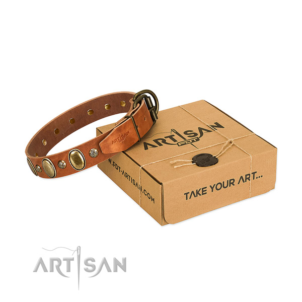 Easy adjustable natural leather dog collar with rust-proof fittings